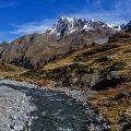 Bergwelt im Kaunertal mit Riffler Bach und  Hintere Ölgrubenspitze, Tirol, Österreich