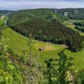 Panorama vom Knopfmacherfels mit Kloster Beuron, Donautal, Schwäbische Alb