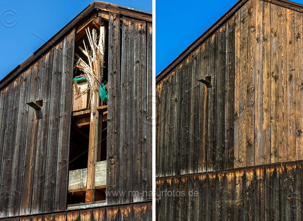 Scheune mit Blitzschaden und repariert. So sind die Turmfalken wieder sicher