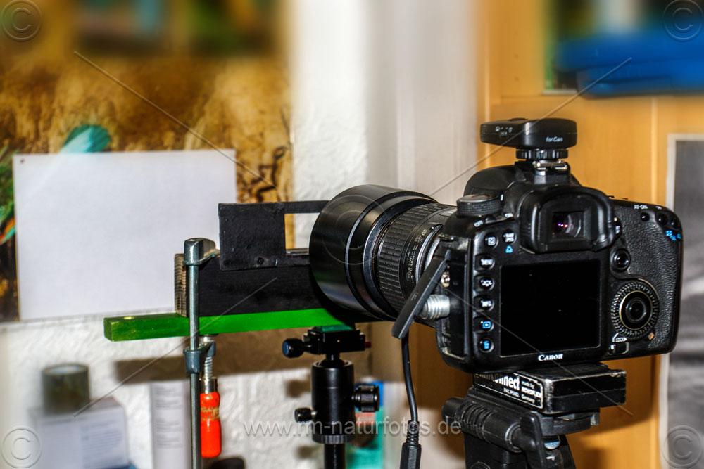 Aufbau um Dias abfotografieren mit dem Makroobjektiv