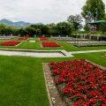 In den Gärten der Villa Taranto, Lago Maggiore, Piemont, Italien (Hochformat-Panorama mit 7 Bildern)