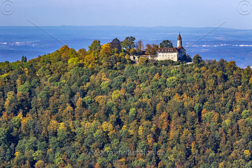 Blick zur Burg Teck, Kirchheim, Schwäbische Alb, Baden-Württemberg, Deutschland