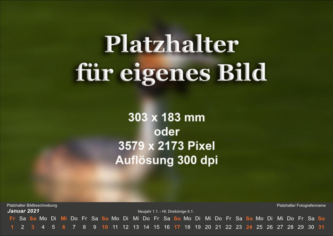 Kalender mit dunkelgrauem Hintergrund