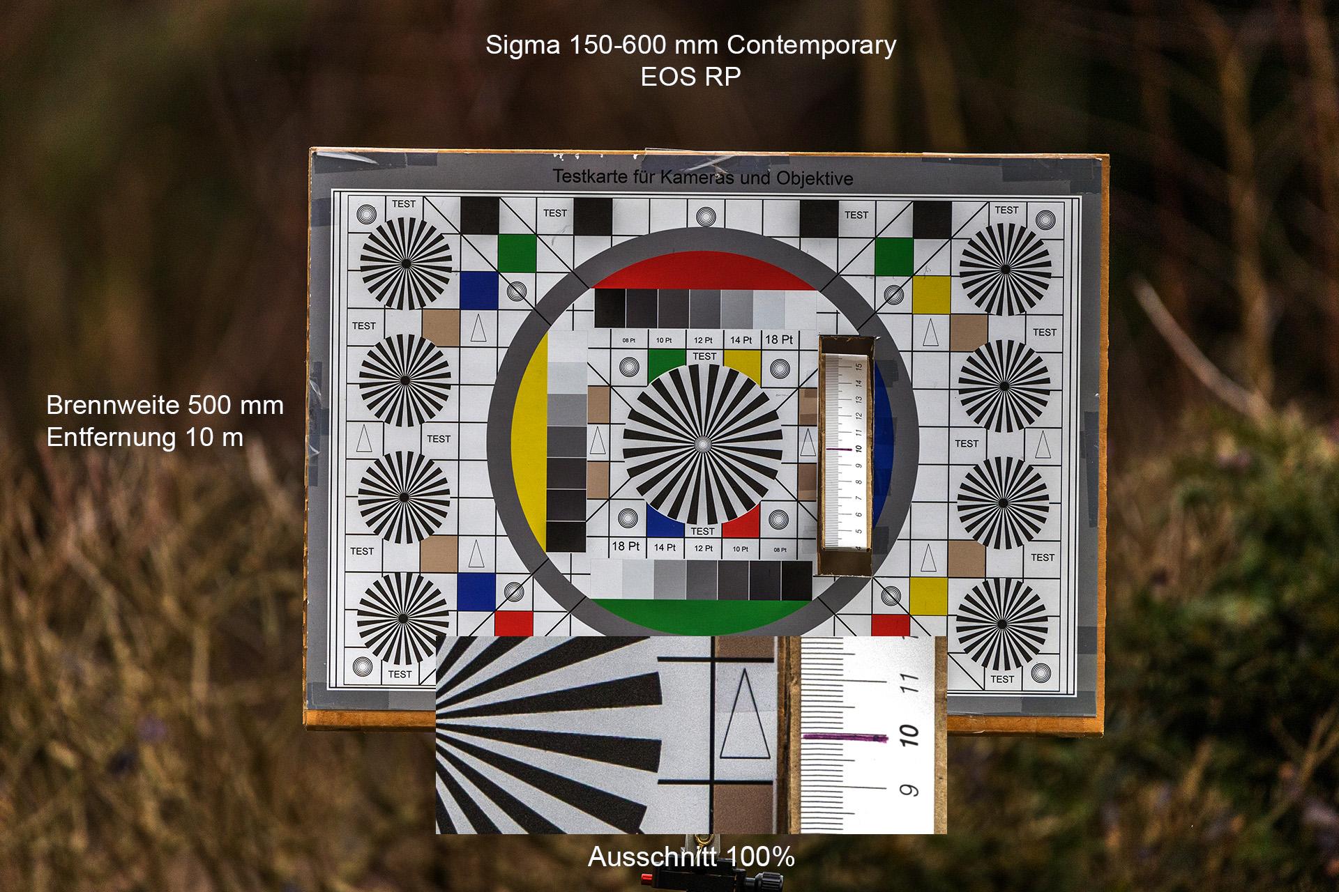 Testaufnahmen mit Sigma 150-600 mm, Canon EOS RP, 500 mm, 10 Meter