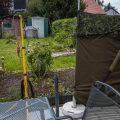 Aufbau auf der Terrasse für die Waschbärenfotografie